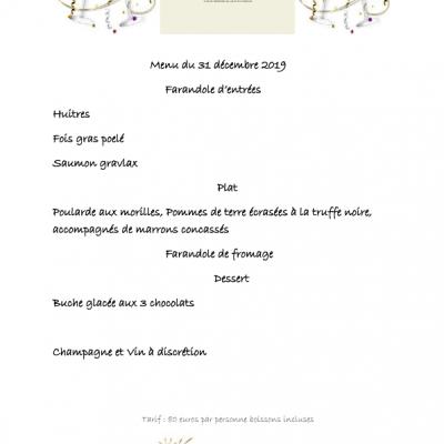 menu de la saint sylvstre